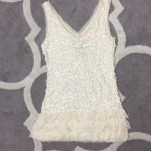 Young Fabulous & Broke Sequined Dress Cream